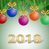 New Year background Christmas balls. Congratulations on the New Year, Christmas card. Royalty Free Stock Photos