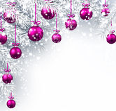 New Year background with Christmas balls. New Year background with Christmas balls and fir branches. Vector illustration Stock Images