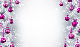 New Year background with Christmas balls. New Year background with Christmas balls and fir branches. Vector illustration Stock Photos