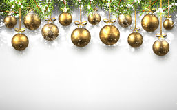 New Year background with Christmas balls. New Year background with golden Christmas balls. Vector illustration Stock Images
