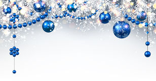 New Year background with Christmas balls. New Year gray background with blue Christmas balls. Vector illustration Stock Photos