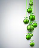 New Year background with Christmas balls. New Year gray background with green Christmas balls. Vector illustration Stock Images