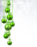 New Year background with Christmas balls. New Year background with green Christmas balls. Vector illustration Stock Photo