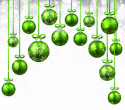 New Year background with Christmas balls. New Year background with green Christmas balls. Vector illustration Royalty Free Stock Image