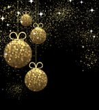 New Year background with Christmas balls. New Year black background with golden Christmas balls. Vector illustration Royalty Free Stock Images