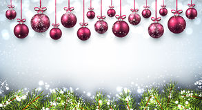 New Year background with Christmas balls. New Year background with pink Christmas balls. Vector illustration Stock Image