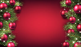 New Year background with Christmas balls. New Year pink background with Christmas balls. Vector illustration Royalty Free Stock Photography