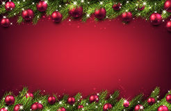 New Year background with Christmas balls. New Year pink background with Christmas balls. Vector illustration Stock Photo