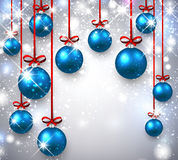 New Year background with Christmas balls. New Year shining background with blue Christmas balls. Vector illustration Stock Image
