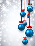 New Year background with Christmas balls. New Year shining background with blue Christmas balls. Vector illustration Stock Photography
