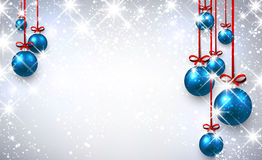 New Year background with Christmas balls. New Year shining background with blue Christmas balls. Vector illustration Stock Photo