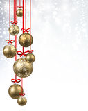 New Year background with Christmas balls. New Year shining background with golden Christmas balls. Vector illustration Stock Image