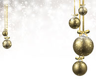 New Year background with Christmas balls. New Year shining background with golden Christmas balls. Vector illustration Stock Images