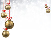 New Year background with Christmas balls. New Year shining background with golden Christmas balls. Vector illustration Royalty Free Stock Photo