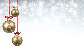 New Year background with Christmas balls. New Year shining background with golden Christmas balls. Vector illustration Stock Photography