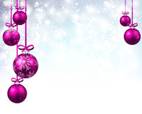 New Year background with Christmas balls. New Year shining background with pink Christmas balls. Vector illustration Royalty Free Stock Images