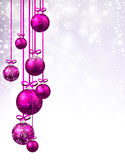 New Year background with Christmas balls. New Year shining background with pink Christmas balls. Vector illustration Royalty Free Stock Photo