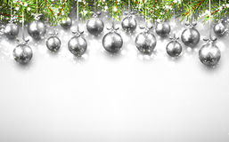 New Year background with Christmas balls. New Year background with silver Christmas balls. Vector illustration Stock Image