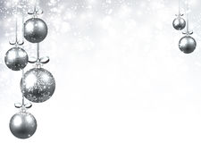 New Year background with Christmas balls. New Year background with silver Christmas balls. Vector illustration Royalty Free Stock Photos