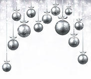 New Year background with Christmas balls. New Year background with silver Christmas balls. Vector illustration Stock Photos