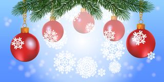 New Year background with Christmas balls and tree. Vector illu. Stration vector illustration