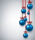 New Year background with Christmas balls. New Year white background with blue Christmas balls. Vector illustration Stock Image