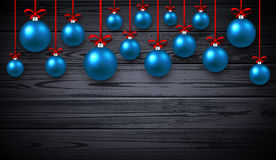 New Year background with Christmas balls. New Year wooden background with blue Christmas balls. Vector illustration Royalty Free Stock Photos