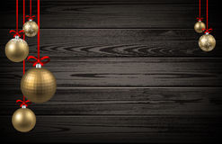 New Year background with Christmas balls. New Year wooden background with golden Christmas balls. Vector illustration Royalty Free Stock Photos