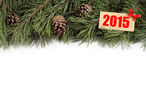 New Year background. Christmas fir tree and bumps with text 2015 on a white background. New Year background. Christmas fir tree and bumps with wooden plate royalty free stock image
