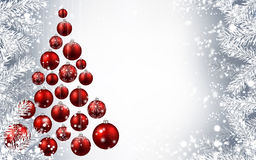 New Year background with Christmas tree. New Year gray background with red Christmas tree. Vector illustration Stock Image