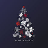 New year background with Christmas tree made of paper snowflakes Royalty Free Stock Photo