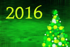 New year background with christmas tree and writing 2016 Royalty Free Stock Images