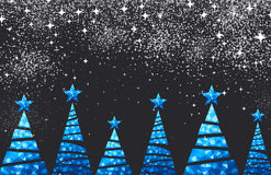 New Year background with Christmas trees. Royalty Free Stock Images