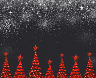 New Year background with Christmas trees. New Year black background with red Christmas trees. Vector illustration Stock Photography