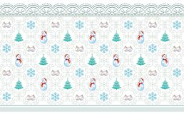 New Year background with Christmas tree. S, snowflakes, snowmen royalty free illustration