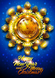 New Year background with clock Royalty Free Stock Photography
