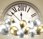 2017 New Year background with clock. 2017 Year background with clock, balloons and confetti. Vector illustration royalty free illustration