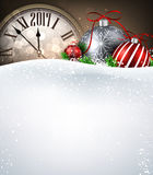 2017 New Year background with clock. 2017 New Year background with clock, balls and snow. Vector illustration vector illustration