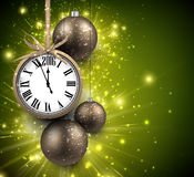 2016 New Year background. With clock and balls. Vector illustration Royalty Free Stock Photo