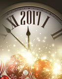 2017 New Year background. 2017 New Year background with clock and balls. Vector illustration Royalty Free Stock Photo