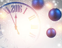 2016 New Year background. With clock and balls. Vector illustration.r Royalty Free Stock Photos