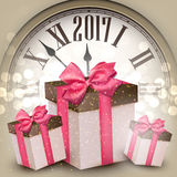 2017 New Year background with clock. 2017 New Year beige background with clock and gifts. Vector illustration Stock Photography