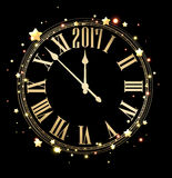 2017 new year background with clock. 2017 new year black background with golden clock. Vector illustration Stock Images