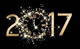 2017 new year background with clock. 2017 new year black background with clock. Vector illustration Royalty Free Stock Image