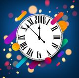 2018 new year background with clock. Stock Images