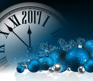 2017 New Year background with clock. 2017 New Year blue background with clock and balls. Vector illustration Royalty Free Stock Images