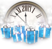 2017 New Year background. 2017 New Year background with clock and blue gifts. Vector illustration Royalty Free Stock Photography