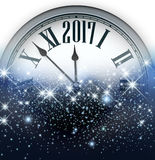 2017 New Year background with clock. 2017 New Year blue luminous background with clock. Vector illustration Stock Photos