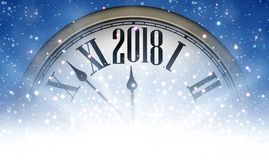 2018 New Year background with clock. Blue 2018 New Year background with clock and snow. Vector illustration Stock Photography