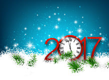 2017 New Year background with clock. 2017 New Year blue background with clock and snow. Vector illustration Stock Image